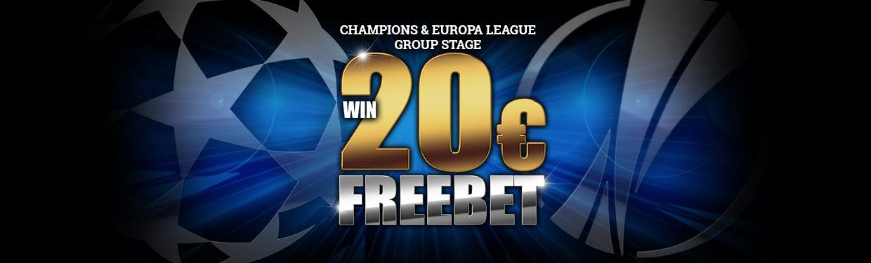 Получите фрибет до €20 в матчах Лиги Чемпионов и Лиги Европы